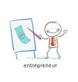 entrepreneur tells a presentation vector image vector image