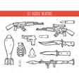 Big doodle set of weapon shells handwork bombs vector image
