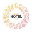 hotel round design template line icon concept vector image