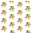 Pink flamingo and tropical plants vector image
