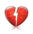 Red Glossy Broken Glass Heart Icon vector image