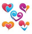 bright love symbols and logo vector image vector image