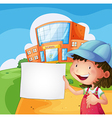 A girl holding a blank paper vector image vector image