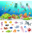 cartoon sea and ocean life concept vector image