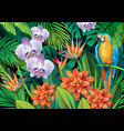background with exotic tropical flowers vector image