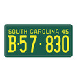 South Carolina 1945 license plate vector image