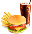 Hamburger French Fries And Cola vector image