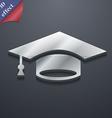 Graduation icon symbol 3D style Trendy modern vector image
