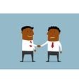 Two happy businessmen shaking hands vector image vector image