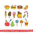 Kids hand drawing tasty food vector image