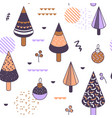 merry christmas memphis geometric seamless pattern vector image