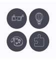 Puzzle painting and air balloon icons vector image