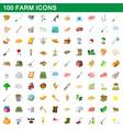 100 farm set cartoon style vector image