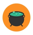 Witch cauldron icon flat vector image vector image