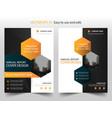 Orange black hexagon annual report brochure vector image
