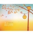 autumn landscape with trees and Clock lamp post vector image vector image