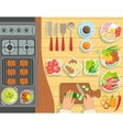 Cafe Grill Cooking Process Elements Set View From vector image
