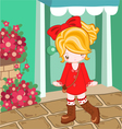 Red dress cute look vector image