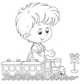 Child playing with a train vector image