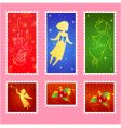 Christmas stamps set vector image vector image
