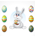 cartoon bunny with eggs set vector image