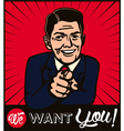 I want you retro businessman with pointing finger vector image