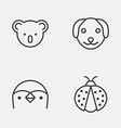 nature icons set collection of puppy marsupial vector image