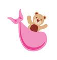 pink bear toy in blanket baby shower celebration vector image