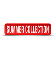 Summer collection red 3d square button isolated on vector image