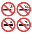 symbol set - vaping forbidden smoking vector image