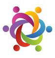 Teamwork people around in a hug logo vector image vector image