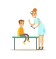 Boy On Medical Check-Up With Female Pediatrician vector image