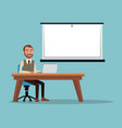 color background executive man sitting in desk for vector image