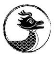 drawing black chinese dragon symbol vector image