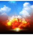 Explosion clouds and blue sky banner vector image