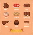 Flat design of steak menu vector image