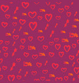 seamless pattern with hearts love word and vector image