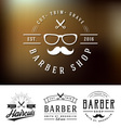 Set of barber shop logo and decorative vector image