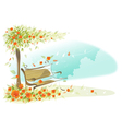 Bench under a tree vector image