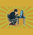 hacker sitting at the computer vector image