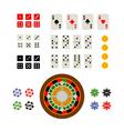 Flat top view set of gambling and casino items vector image