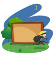 Empty board with thief design vector image vector image