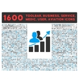 Audience Growth Icon with Large Pictogram vector image