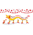 CNY Dragon Dancing Panorama vector image