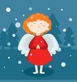 greeting card christmas card with christmas angel vector image