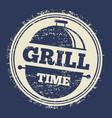 grill grunge label design on blue backdrop vector image
