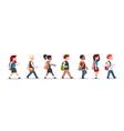 group of pupils mix race walking school children vector image