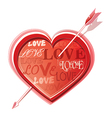 Heart struck by arrows vector image