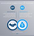 monochrome blue bubbles chart infographics for 2 vector image