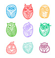Owls hand drawn set vector image